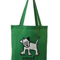 Woof! DOG Tote Bag. 100% Cotton. Apple Green