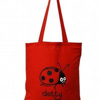 Spotty Dotty! LADYBIRD Tote Bag. 100% Cotton. Jam Red