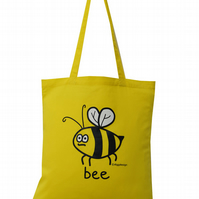 Buzzy! BEE Tote Bag. 100% Cotton. Honey Yellow