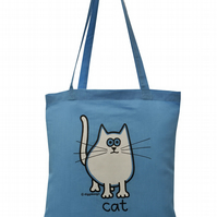Meow! CAT Tote Bag. 100% Cotton. Skyblue