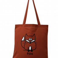 Crafty! FOX Tote Bag. 100% Cotton. Rusty Orange