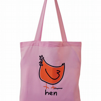 Cluck! HEN Tote Bag. 100% Cotton. Cute Baby Pink.