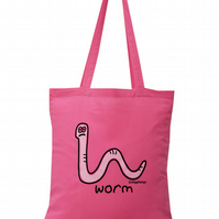 Wiggly! WORM Tote Bag. 100% Cotton. Candy Pink
