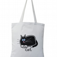 Lucky! BLACK CAT Tote Bag. 100% Cotton. Ice White