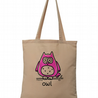 Hoot! OWL Tote Bag. 100% Cotton. Sandy Brown