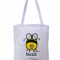 Buzz off! BEE Tote Bag. 100% Cotton. White