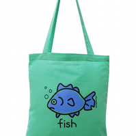 Splash! FISH Tote Bag. 100% Cotton. Seafoam Blue