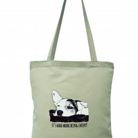 Cheeky! TERRIER Tote Bag. 100% Cotton. Putty Brown.