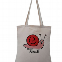 Slowly does it! SNAIL Tote Bag. 100% Cotton. Vanilla Cream