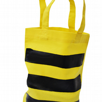 BEE STRIPE!  Small Gift Bag. Cotton. Eco friendly & reusable. Yellow.