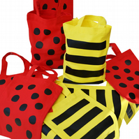 Pack of 10. BEE & LADYBIRD Gift Party Bags. Cotton. Eco friendly. Yellow & Red