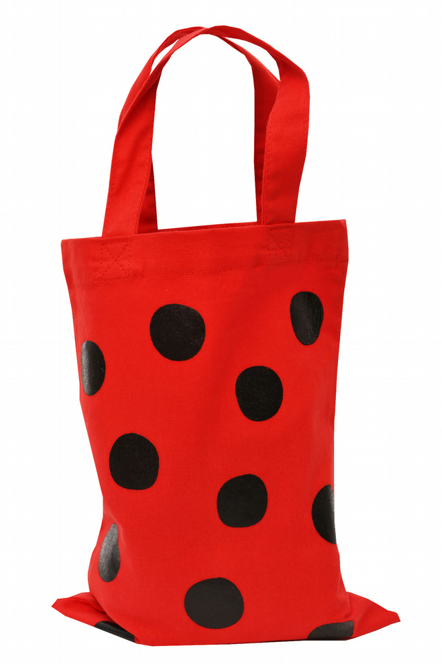 LADYBIRD DOTS! Small Gift Bag. Cotton