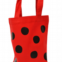 LADYBIRD DOTS!  Small Gift Bag. Cotton. Eco friendly & reusable. Red.