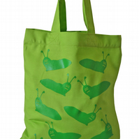 SLIMY SLUG!  Small Gift Bag. Cotton. Eco friendly & reusable. Lime Green