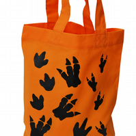 DINOSAUR footprint Small Gift Bag. Cotton. Eco friendly! 7 colours available.
