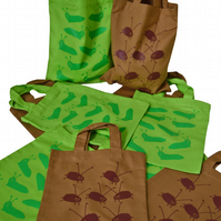Pack of 10. BUG & SLUG Gift Party Bags. Cotton. Eco friendly. Brown & Lime