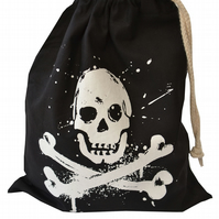 Ahoy!  PIRATE Drawstring Gift Bag. Cotton. Eco friendly & reusable. Black