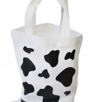 COW PATCH!  Small Gift Bag. Cotton. Eco friendly & reusable. White