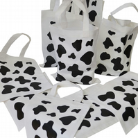 Pack of 10. COW PATCH Gift Party Bags. Cotton. Eco friendly. White.