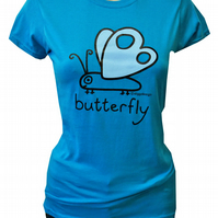 Womens or Teen fitted BUTTERFLY T.shirt 100% Cotton. Aqua Blue  Sizes 6-20.