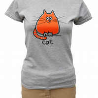 Womens or Teen fitted Meow CAT T.shirt Cotton Blend. Heather Grey Sizes 6-20