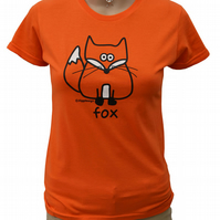 Womens or Teen fitted FOX T.shirt 100% Cotton. Hot Orange Sizes 6-16.
