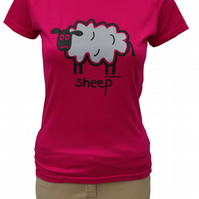 Womens or Teen fitted Baaa SHEEP T.shirt 100% Cotton.Hot Pink  Sizes 6-20.