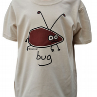 BOYS BUG T.shirt 100% Cotton. Sand. Ages 3-4 upto 9-11y.