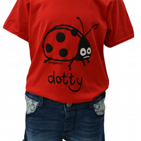 GIRLS LADYBIRD T.shirt 100% Cotton. Jam Red. Ages 3-4 upto 9-11y
