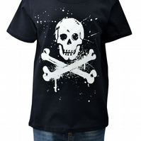 BOYS PIRATE T.shirt 100% Cotton. Black. Ages 3-4 upto 9-11y.