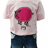 GIRLS PIG T.shirt 100% Cotton. Baby Pink. Ages 3-4 upto 9-11y