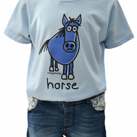 GIRLS HORSE T.shirt 100% Cotton. Baby Blue. Ages 3-4 upto 9-11y
