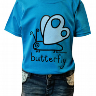 GIRLS BUTTERFLY T.shirt 100% Cotton. Aqua Blue. Ages 3-4 upto 9-11y