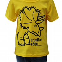 Unisex 'Triyellowatops' DINOSAUR T.shirt 100% Cotton. Yellow. Ages 3-4- 9-11y