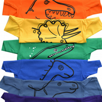 Set of 7 Multicoloured DINOSAUR T.shirts 100% Cotton. Ages 3-4- 9-11y