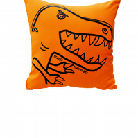Fun 'T-Rex' Orange DINOSAUR Cushion. Available in 7 colours of the rainbow!