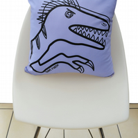 Fun Velociraptor Purple DINOSAUR Cushion. Available in 7 colours of the rainbow!