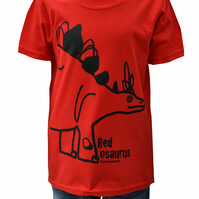 Unisex 'Stegosaurus' DINOSAUR T.shirt 100% Cotton. Red. Ages 3-4- 9-11y