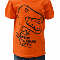 Unisex 'T-Rex' DINOSAUR T.shirt 100% Cotton. Orange. Ages 3-4- 9-11y