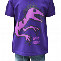 Unisex 'Velociraptor' DINOSAUR T.shirt 100% Cotton. Purple. Ages 3-4- 9-11y
