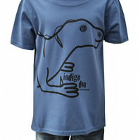 Unisex 'Iguanadon' DINOSAUR T.shirt 100% Cotton. Indigo Blue Ages 3-4- 9-11y