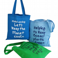 Pack of 3 'Environment friendly'...Tote Bags. 100% Cotton. SkyBlue,Aqua,Peagreen