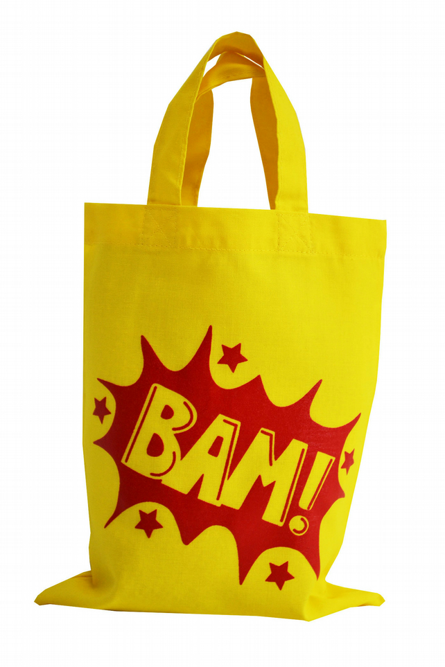 BAM! Super hero Small Gift Bag. Cotton. Eco friendly & reusable. Yellow