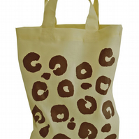 LEOPARD SPOTS!  Small Gift Bag. Cotton. Eco friendly & reusable. CREAM