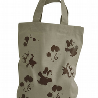 MUDDY PAWS!  Small Gift Bag. Cotton. Eco friendly & reusable. Grey