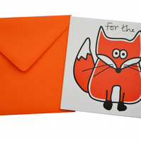 Fox Birthday Card. Bright orange envelope.