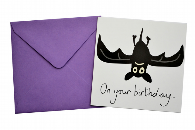 Bat Birthday Card. Vivid Purple envelope.