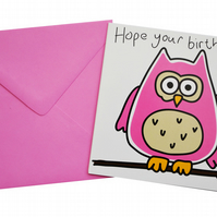 Owl Birthday Card.  Candy pink envelope.