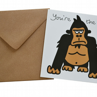 Gorilla Birthday Card. Brown envelope.