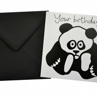 Panda Birthday Card.  Black envelope.